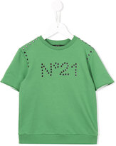 No21 Kids - eyelet logo top - kids - Cotton/Spandex/Elastane - 7 yrs