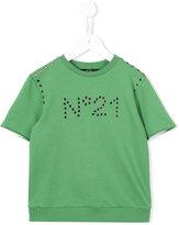 No21 Kids - eyelet logo top - kids - Cotton/Spandex/Elastane - 9 yrs