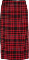 No.21 No. 21 Plaid cotton and linen-blend skirt