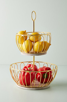 Anthropologie Gold Wire Two-Tier Fruit Basket By in Gold Size L