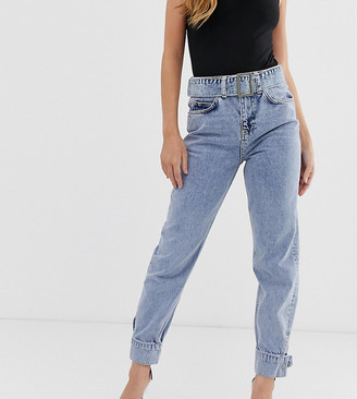 Asos DESIGN Petite Ritson rigid high waisted mom jeans in light vintage wash with belted waist and cuff hem detail-Blue