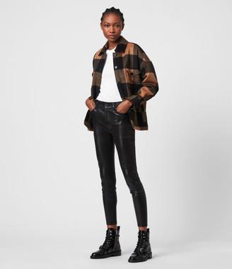 AllSaints Alex High-Rise Coated Superstretch Skinny Jeans, Black