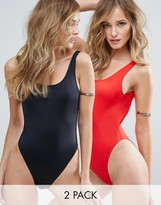 Asos Scoop Front High Leg Swimsuit Multipack