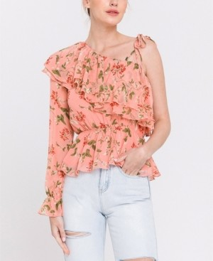 Endless Rose Asymmetrical Coral Pink Vine Print Top