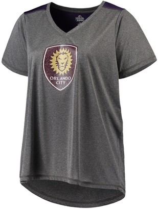 Majestic Women's Charcoal Orlando City SC V-Neck Contrast T-Shirt