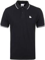 Money Double Stripe Jet Black Short Sleeve Polo Shirt
