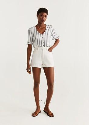 MANGO Buttons stripes shirt off white - 2 - Women