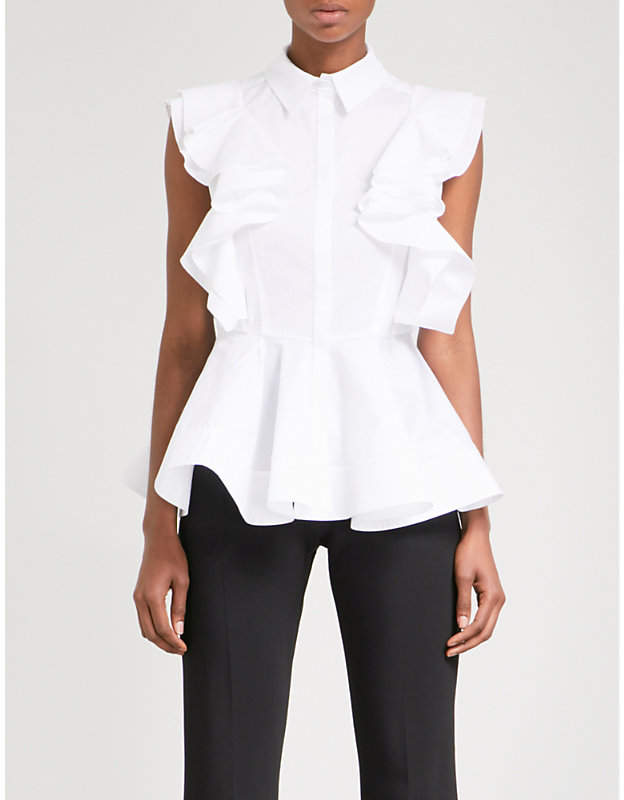 Antonio Berardi Ruffled stretch-cotton blouse