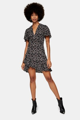 Topshop Womens Black Star Print Tea Dress - Black