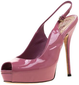 Gucci Pink Microguccissima Patent Leather Sofia Slingback Peep Toe Platform Sandals Size 37