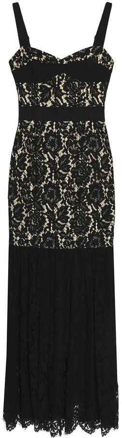 Milly Grograin-trimmed Pleated Guipure Lace Maxi Dress