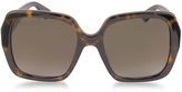 Gucci GG0096S 006 Havana Acetate Square Women's Polarized Sunglasses