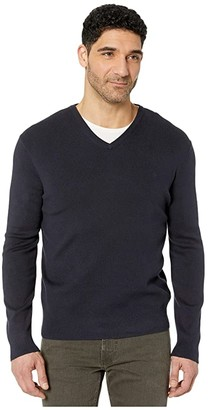 Calvin Klein Cotton Modal Long Sleeve V-Neck (Dark Cliff Heather) Men's Sweater