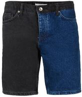Topman Indigo And Black Spliced Slim Denim Shorts