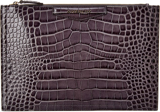 Givenchy Antigona Medium Croc-Embossed Leather Pouch