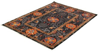 """Ecarpetgallery Hand-Knotted Signature Collection Black, Orange Wool Rug 6'1"""" X 8'7 Rug Size: Rectangle 8' x 10'"""