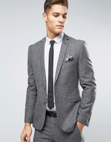 Burton Menswear Slim Suit Jacket In Tweed