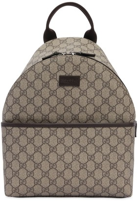 Gucci Gg Supreme Logo Faux Leather Backpack