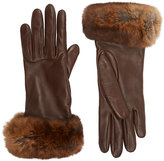 Barneys New York Women's Fur-Cuff Gloves-BROWN