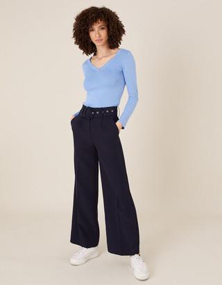Monsoon Circle Belt Wide Leg Trousers Blue