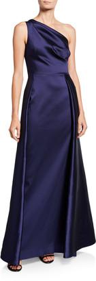 Rickie Freeman For Teri Jon One-Shoulder Asymmetric Gazaar A-Line Gown