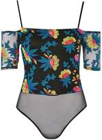 Topshop PETITE Bardot Embroidered Bodysuit
