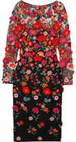 Lela Rose Appliquéd Embroidered Tulle Dress - US0