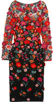 Lela Rose Appliquéd Embroidered Tulle Dress - US2