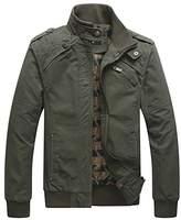 Men Military Jacket Casual Windbreaker Stand Collar Field Coat Outerwear Lightweight Front Zip Jackets