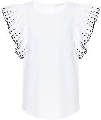See by Chloe Ruffled cotton-poplin top