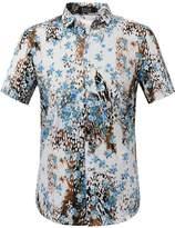 SSLR Men's Flower Casual Button Down Short Sleeve Shirt (, Blue(AFD-168))