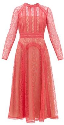 Self-Portrait Floral-lace Midi Dress - Womens - Pink