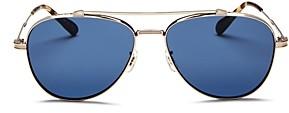 Oliver Peoples Unisex Rikson Brow Bar Aviator Sunglasses, 56mm