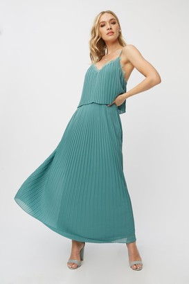 Little Mistress Bridesmaid Layla Nile Blue Pleated Maxi Dress