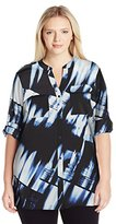 Calvin Klein Women's Plus Size Printed Roll Sleeve
