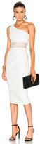 Nicholas Bandage One Shoulder Dress in White.