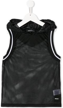 DKNY Mesh Hooded Vest