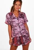 boohoo Petite Isobel Paisley Print Satin Pyjama Set multi