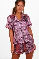 boohoo Petite Isobel Paisley Print Satin Pyjama Set