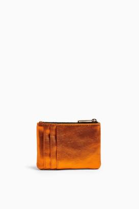 Topshop EASY Orange Quilted Zip Mini Purse