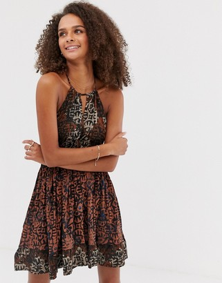Free People Beach Day paisley print slip dress-Black