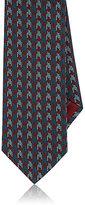 Brioni Men's Houndstooth Jacquard Silk Necktie-BURGUNDY