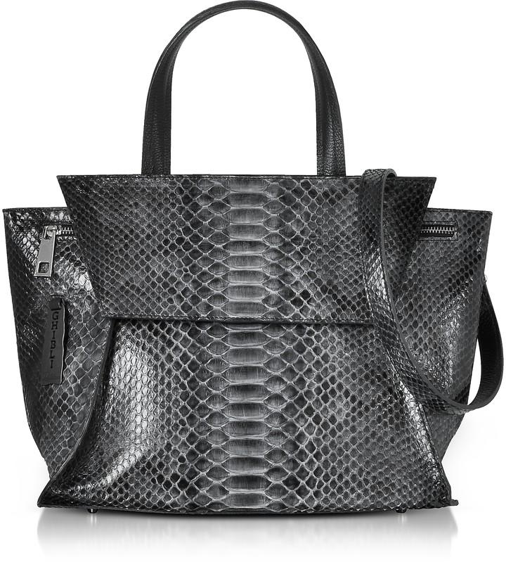 Ghibli Python Leather Satchel Bag w/Shoulder Strap