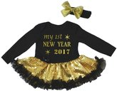 Petitebella My 1st New Year 2017 L/s Bodysuit Sequins Tutu Nb-18m (0-3 Months)