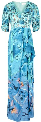 Peter Pilotto Floral-print Satin Maxi Dress