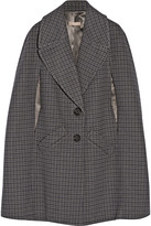 Michael Kors Houndstooth melton wool cape