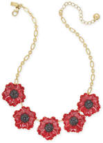 Kate Spade Gold-Tone Enamel & Stone Poppy Statement Necklace