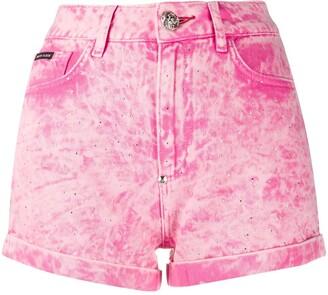 Philipp Plein Acid-Wash Denim Shorts