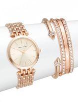 Adrienne Vittadini Glitz Rose Goldtone Bracelet Watch Set