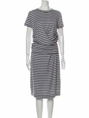 Brunello Cucinelli Striped Midi Length Dress Grey